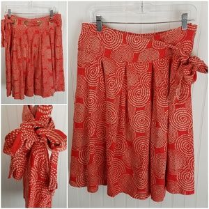 Willi Smith Orange Pleated Linen Belted Bow Skirt
